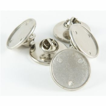 Premium Badge Blank round 21mm silver clutch & clear dome